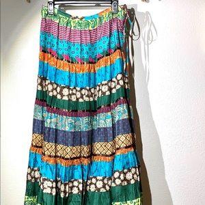 BCBG Max Azria Silk Floral Patchwork Maxi Skirt XS
